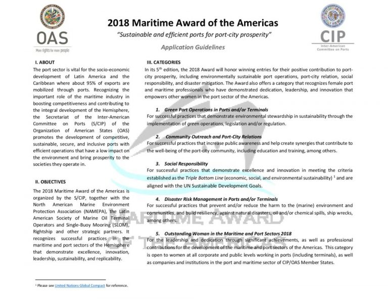thumbnail of GUIDELINES – 2018 Maritime Award of the Americas