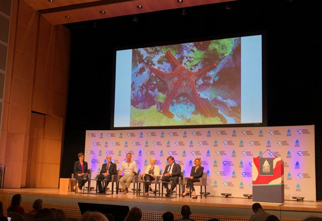 Dr. Sarah Cooley moderates a conversation among Dr. Andrew Pershing, Dr. John Bruno, Ms. Ko Barrett, Dr. Marcia McNutt, and Mr. David Victor about the major issues facing our ocean and disrupting marine ecosystems.